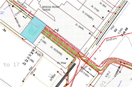 UKPN asset record under-laid onto CAD base map