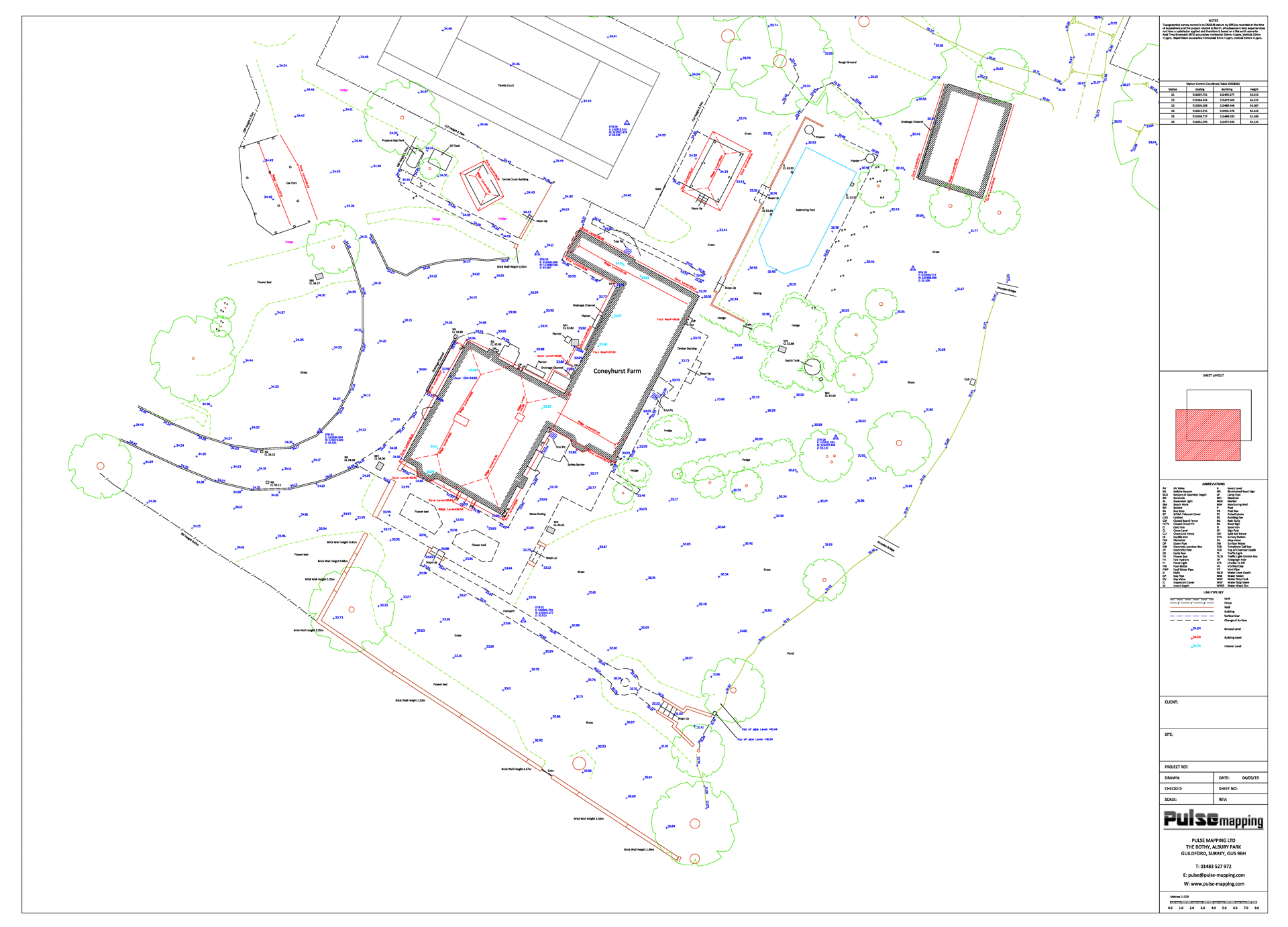 Land, levels and building positions surveyed