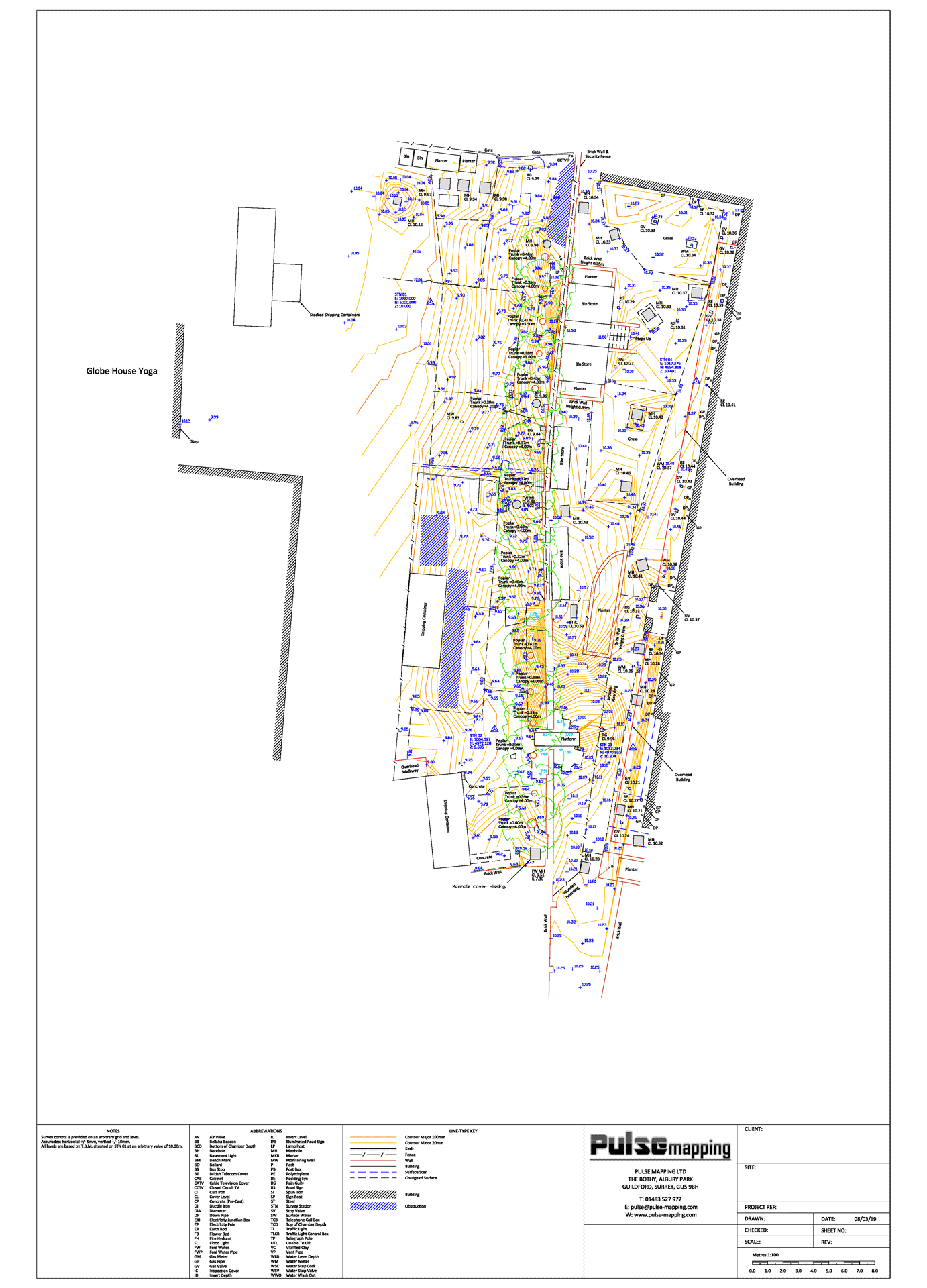 Levels and contours topographic survey drawing