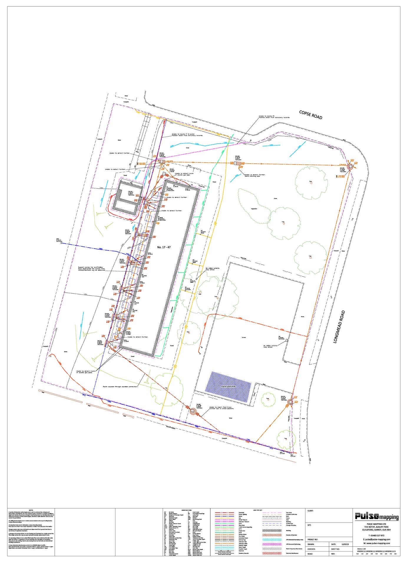 Housing block utility survey CAD drawing
