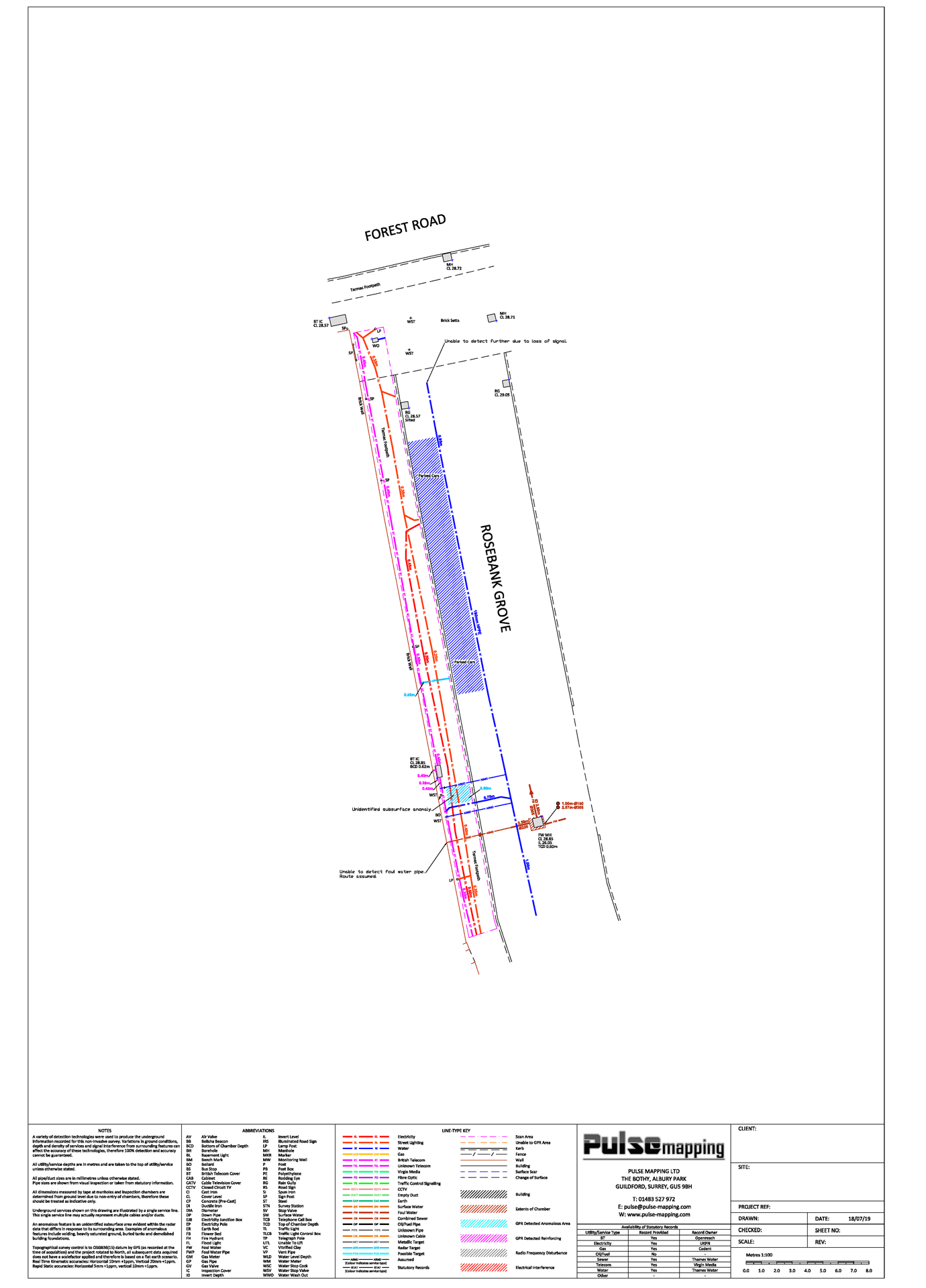 Utility mapping survey of a pavement
