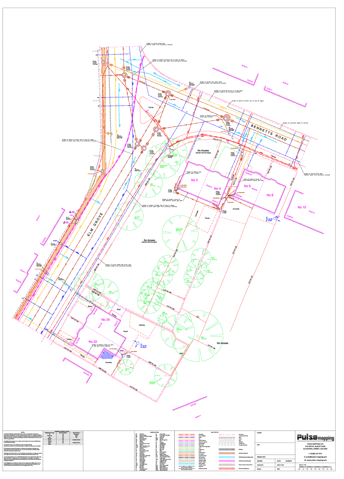 Utility survey of carriageway and footpath